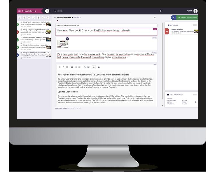 Screenshot of FirstSpirit Fragment Creator User Interface
